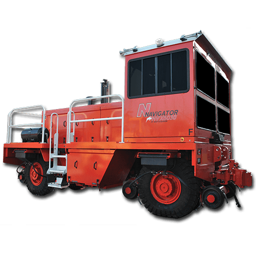 NVX6030 - Shuttlewagon - New Machines - patented rail guidance system - air knife track cleaning system - mobile railcar mover - railway mover sales