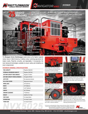 NVX5025 - Shuttlewagon Mobile Railcar Movers - Navigator series - up to 40 loaded railcars