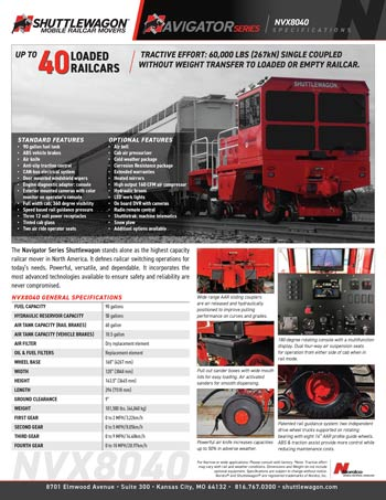 NVX8040 - Shuttlewagon Mobile Railcar Movers - Navigator series - up to 40 loaded railcars