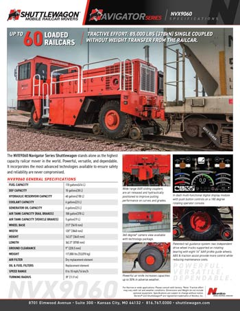 NVX9060 - Shuttlewagon Mobile Railcar Movers - Navigator series - up to 60 loaded railcars