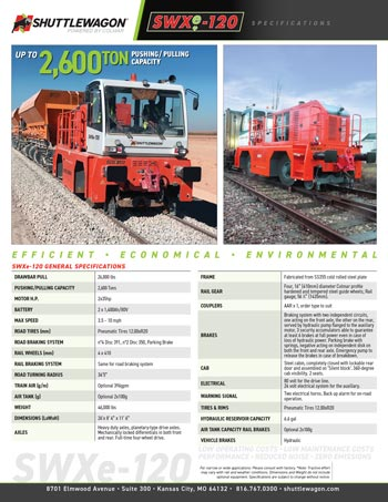 SWXe120 - Shuttlewagon Electric Mobile Railcar Movers