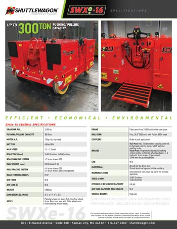 SWXe16 - Shuttlewagon Electric Mobile Railcar Movers