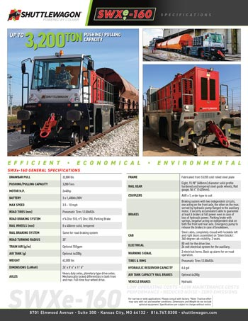 SWXe160 - Shuttlewagon Electric Mobile Railcar Movers