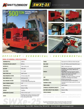 SWXe25 - Shuttlewagon Electric Mobile Railcar Movers