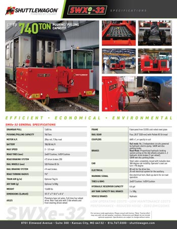 SWXe32 - Shuttlewagon Electric Mobile Railcar Movers