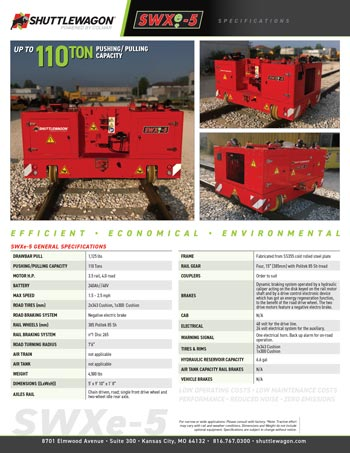 SWXe5 - Shuttlewagon Electric Mobile Railcar Movers