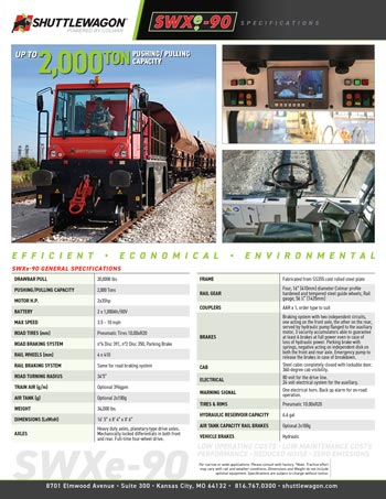 SWXe90 - Shuttlewagon Electric Mobile Railcar Movers