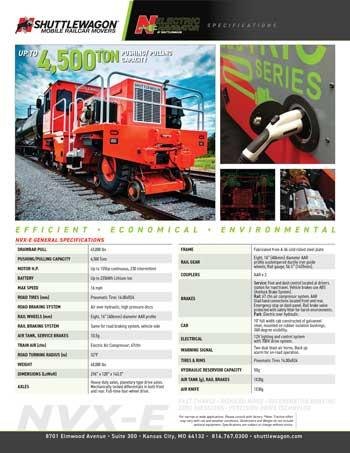 Shuttlewagon NVX-e Electric Mobile Railcar Mover